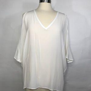 Chaser Silk Basics Cold Shoulder V Neck Oversized